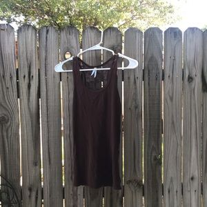 Large brown lace tank top by color story